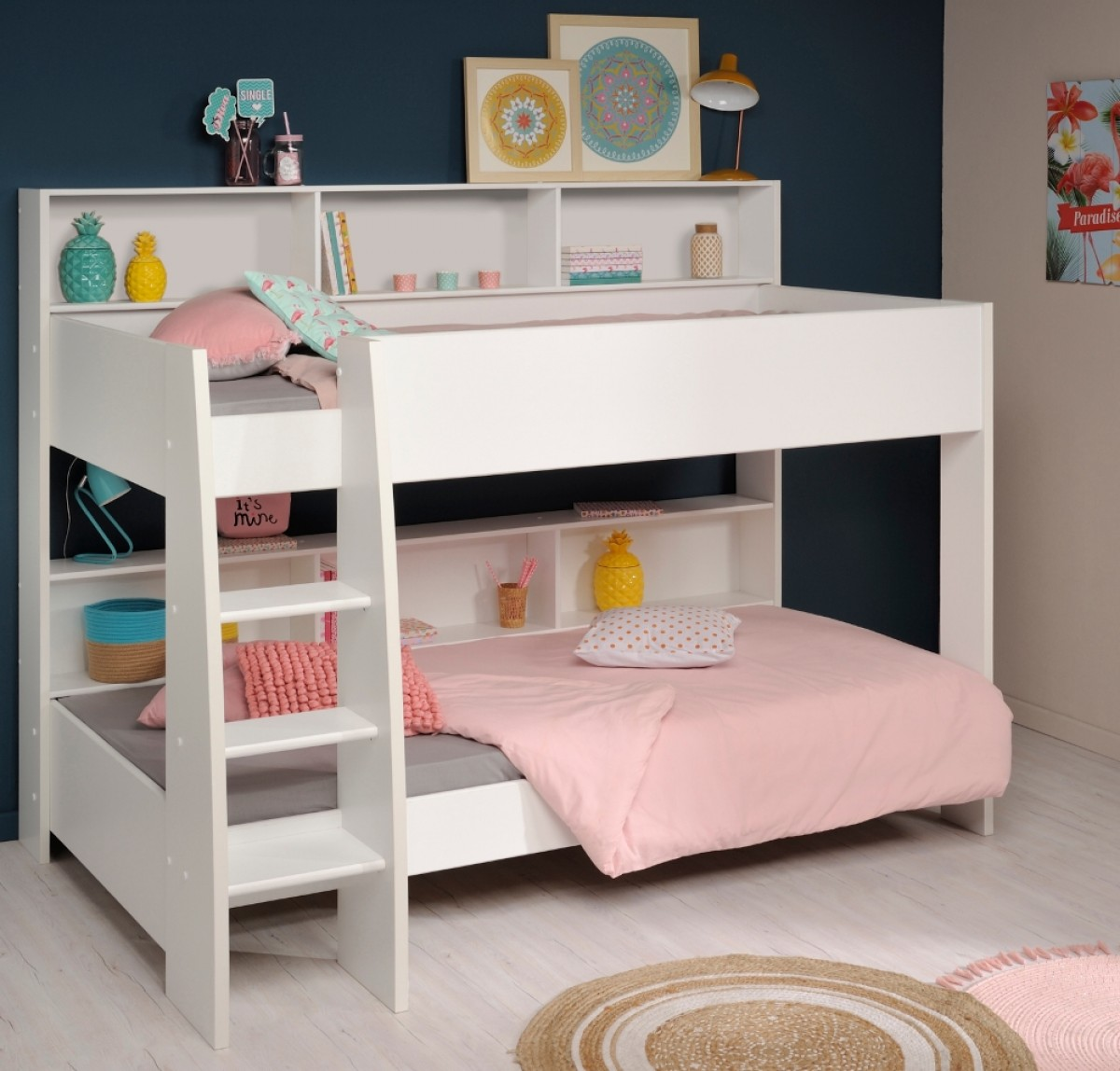 Tam Tam White and Oak Wooden Bunk Bed