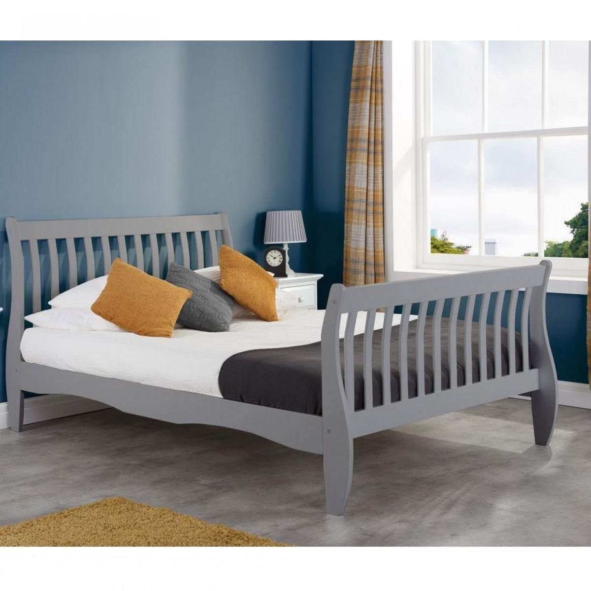 Belford Grey Wooden Sleigh Bed