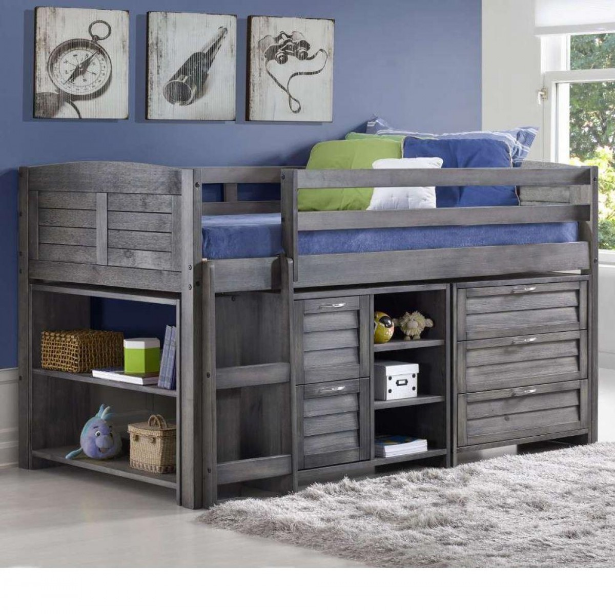 Cosy Grey Wooden Mid Sleeper Storage Bed