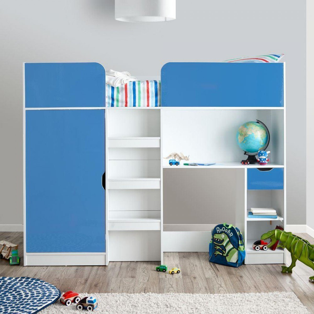 Paddington Blue and White High Sleeper Storage Bed