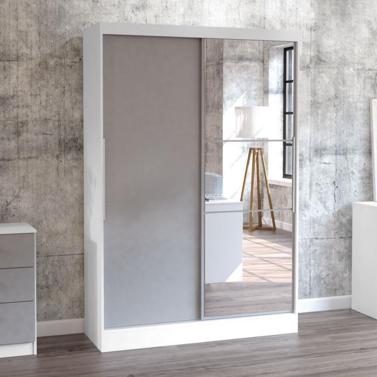 Lynx White and Grey 2 Door Sliding Wardrobe with Mirror