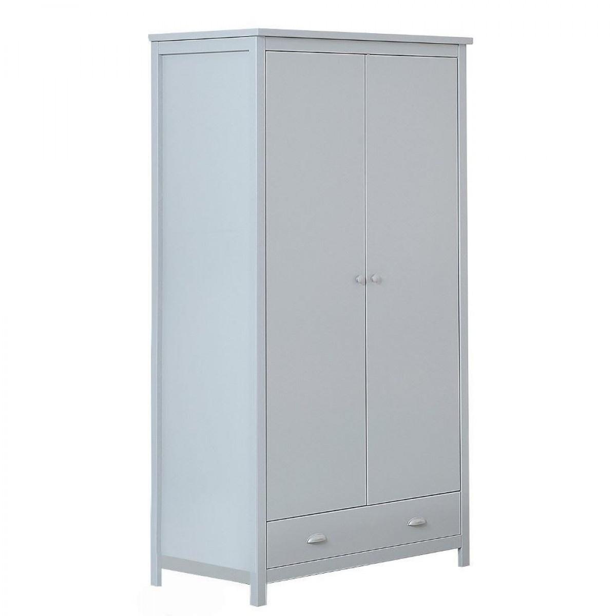 Kingston Grey Wooden 2 Door Combination Wardrobe