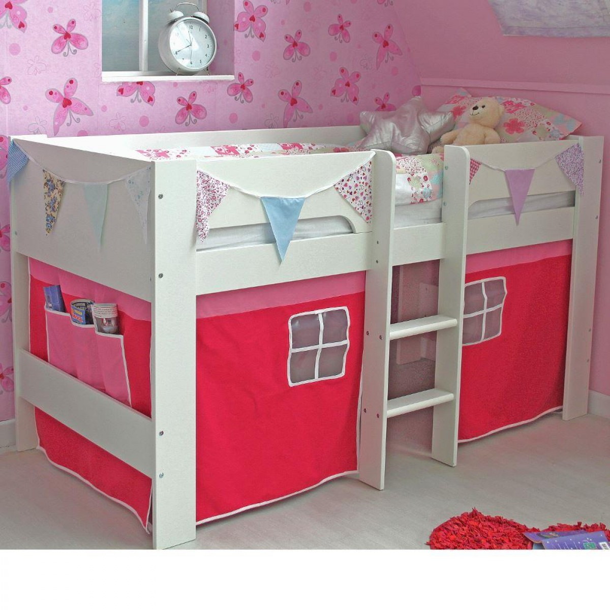 Jessie White Wooden Mid Sleeper With Pink Tent