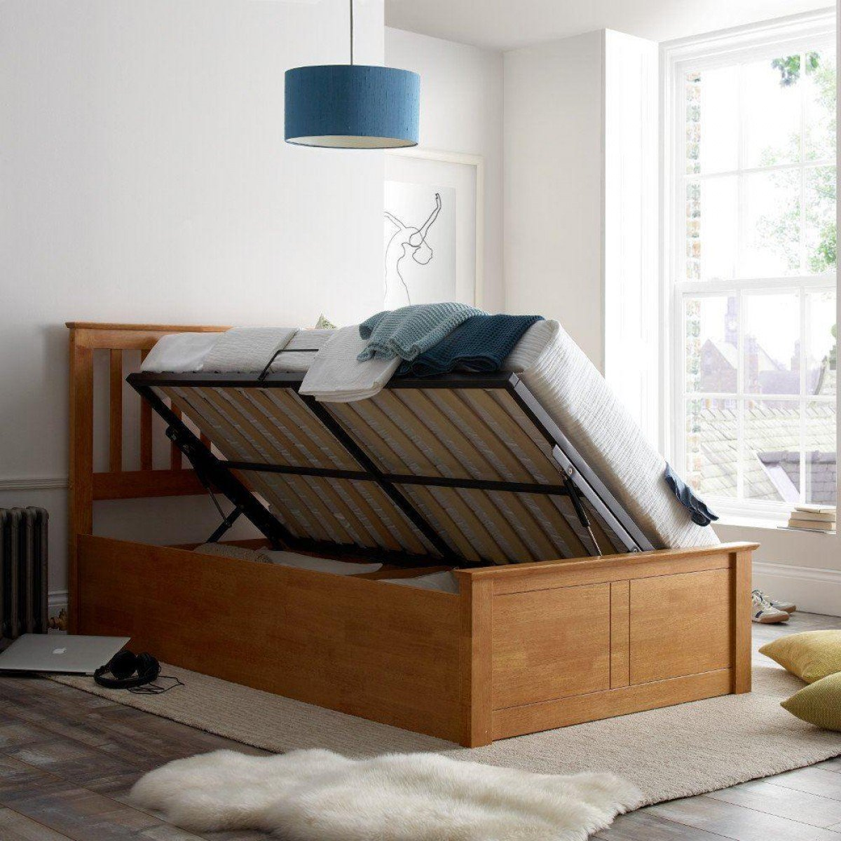 Francis Oak Wooden Ottoman Storage Bed