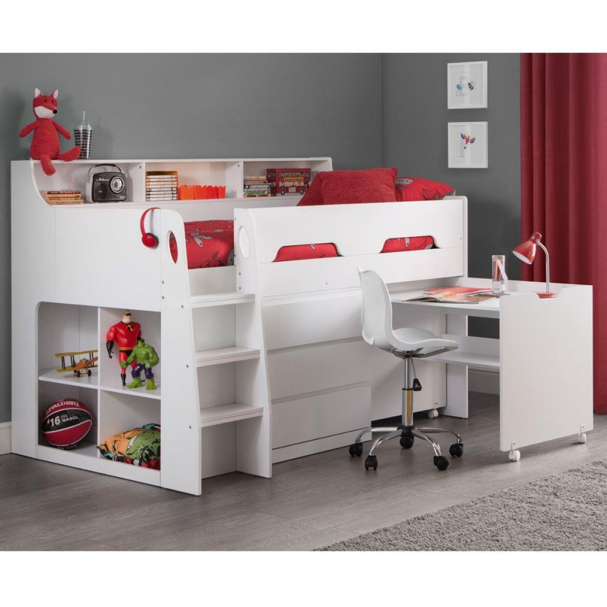Jupiter White Wooden Mid Sleeper Cabin Bed