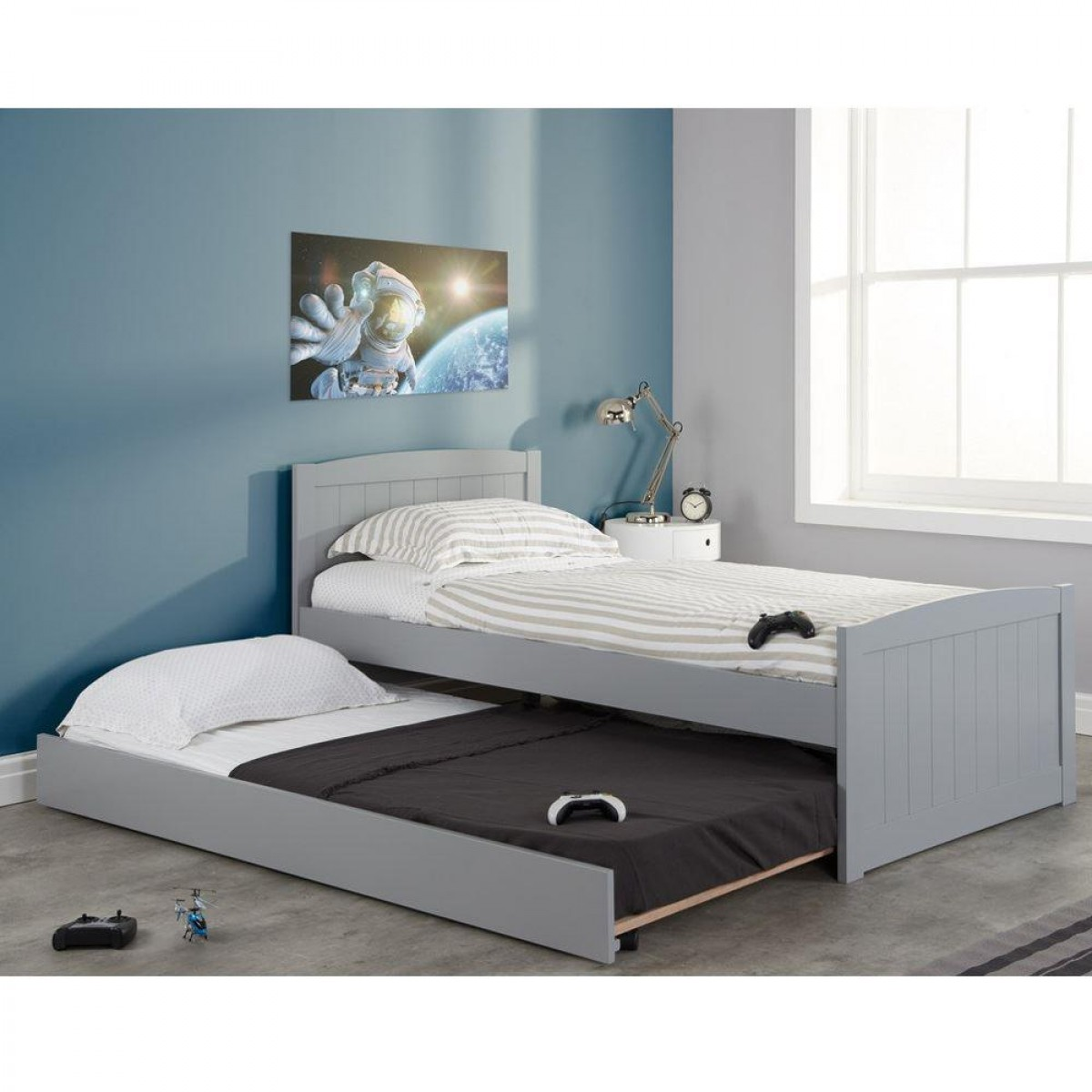 new product 71fe3 7d41f Beckton Grey Wooden Bed and Trundle Guest Bed