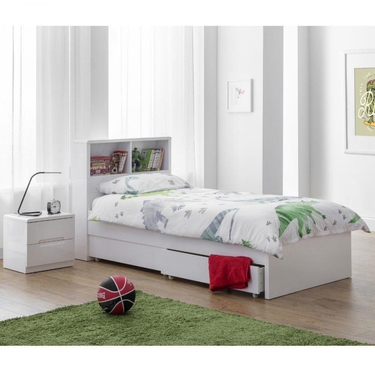 Manhattan Gloss White Wooden 2 Drawer Storage Bookcase Bed