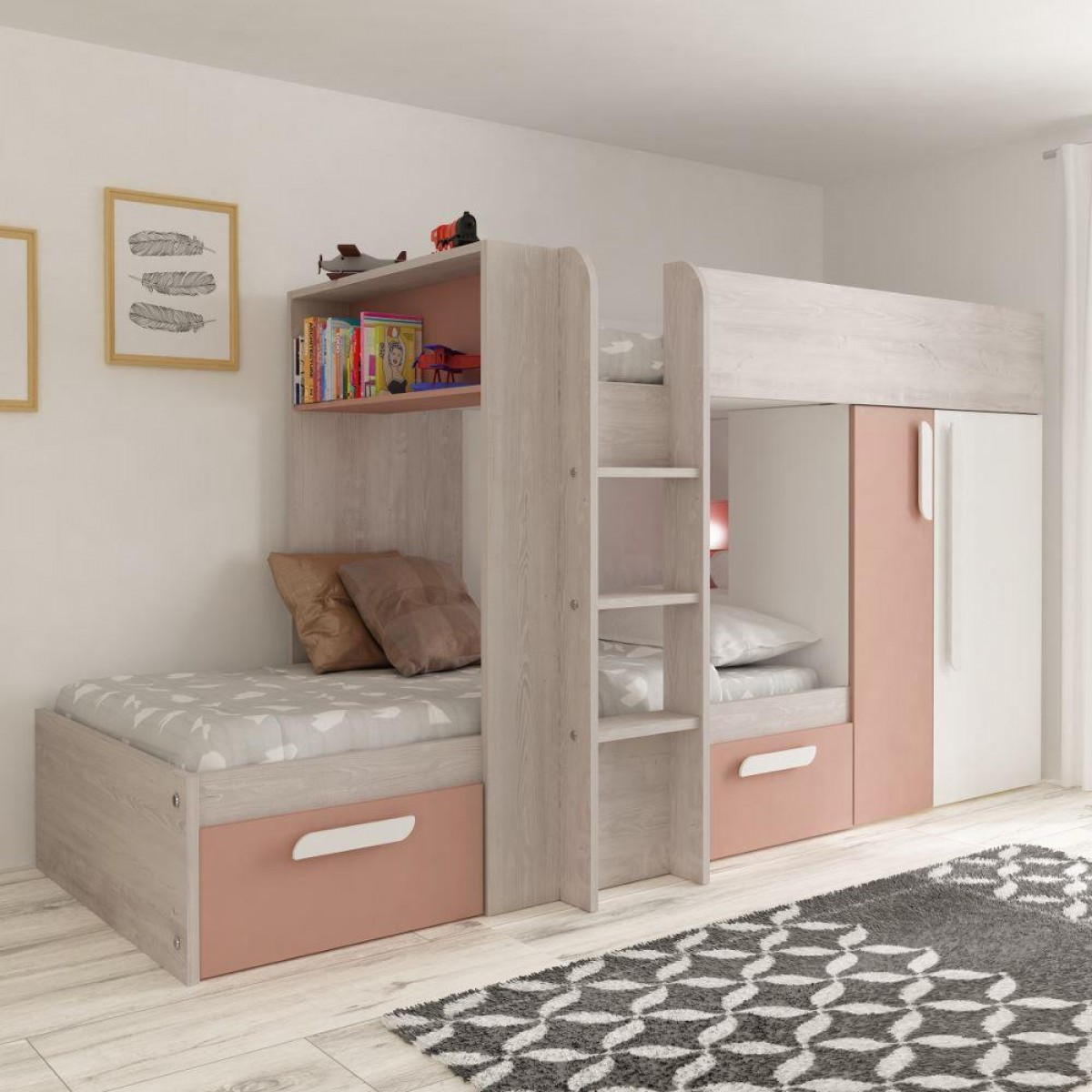Barca Pink and Oak Wooden Bunk Bed
