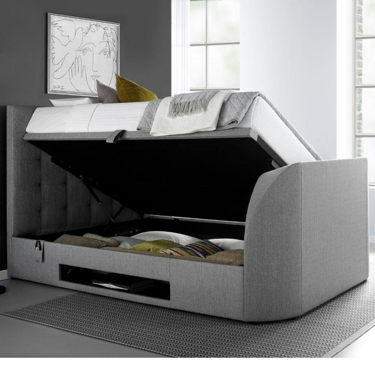 Miraculous Barnard Grey Fabric Ottoman Tv Bed Andrewgaddart Wooden Chair Designs For Living Room Andrewgaddartcom