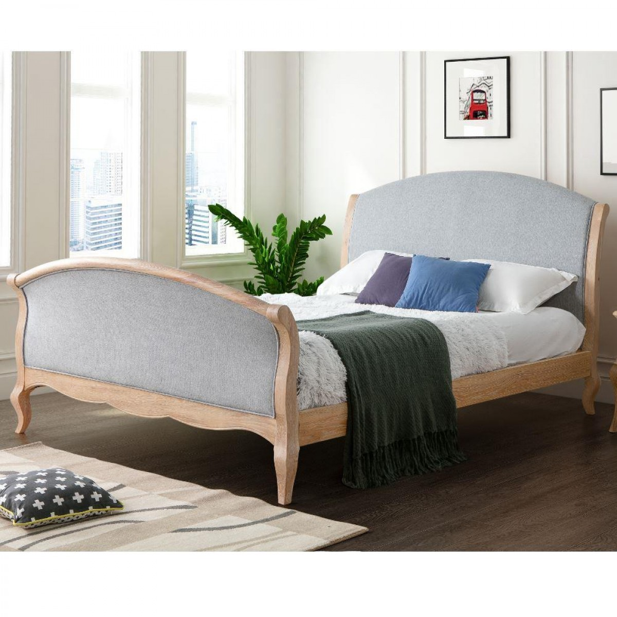 Savoy Grey Fabric and Oak Wooden Bed