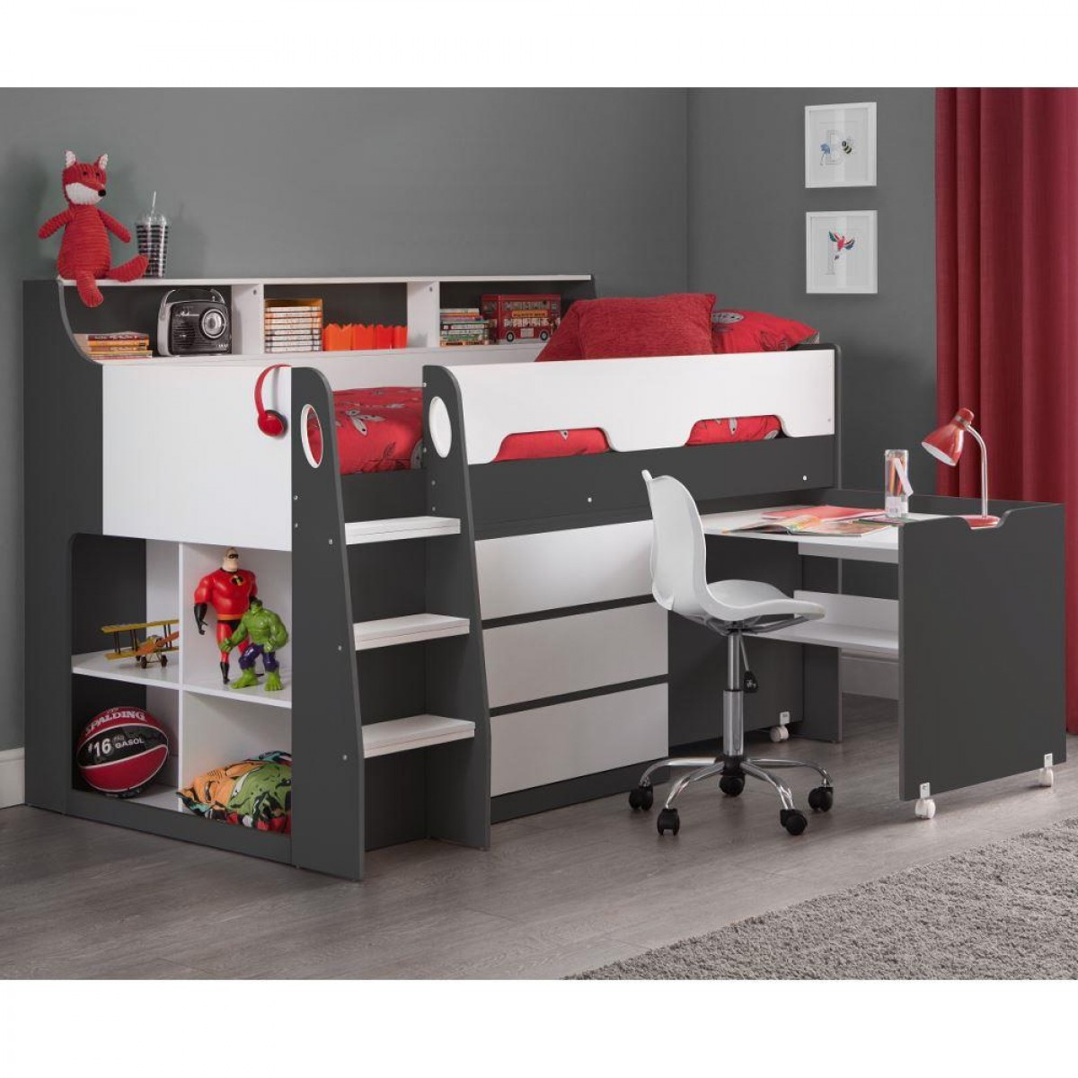 Jupiter Grey and White Wooden Mid Sleeper Cabin Bed
