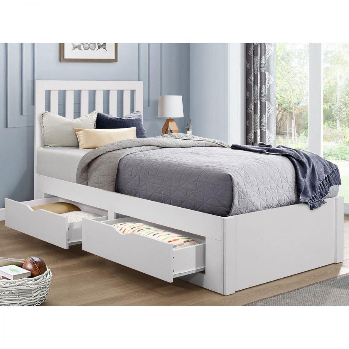 Appleby White Wooden 4 Drawer Storage Bed