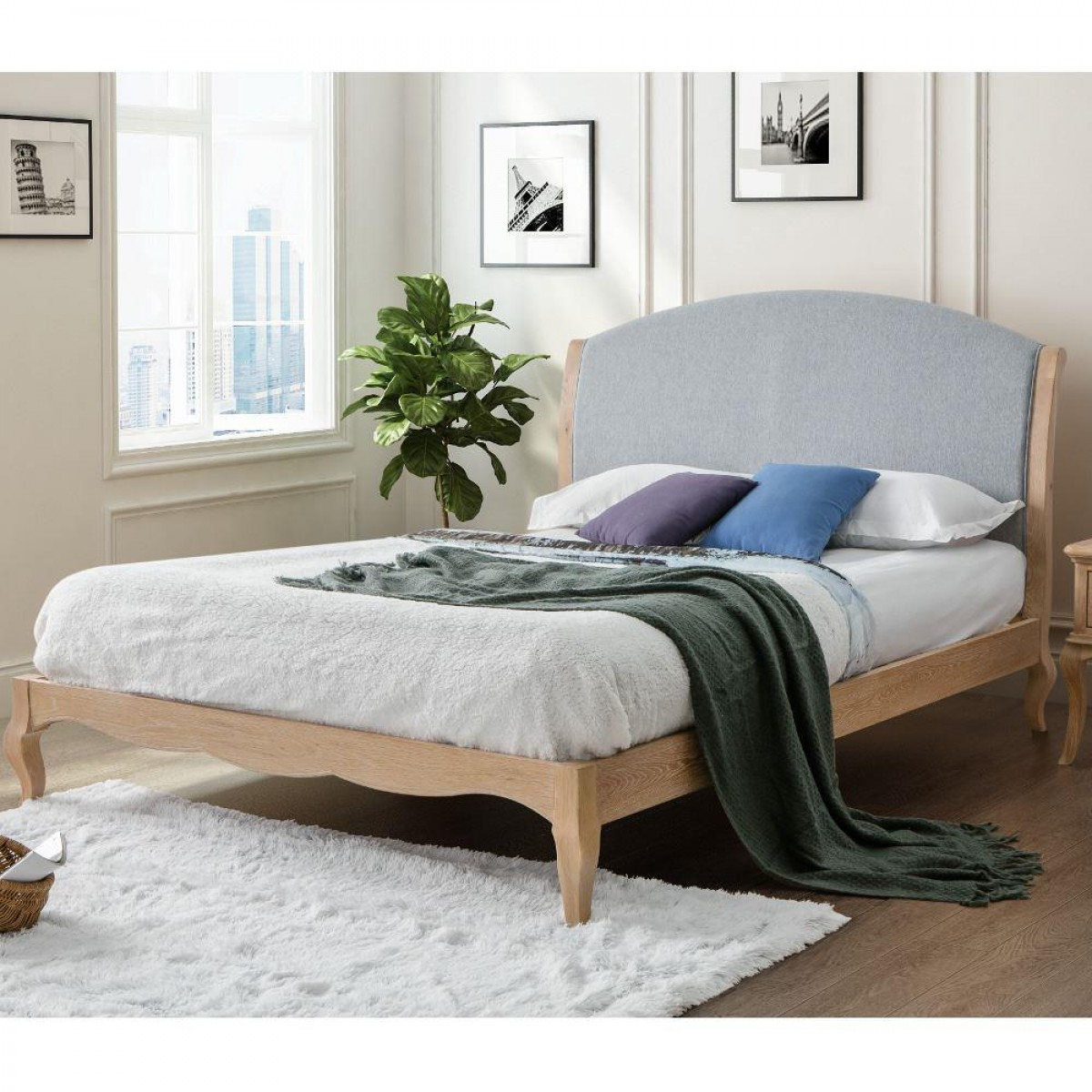 Ritz Grey Fabric and Oak Wooden Bed