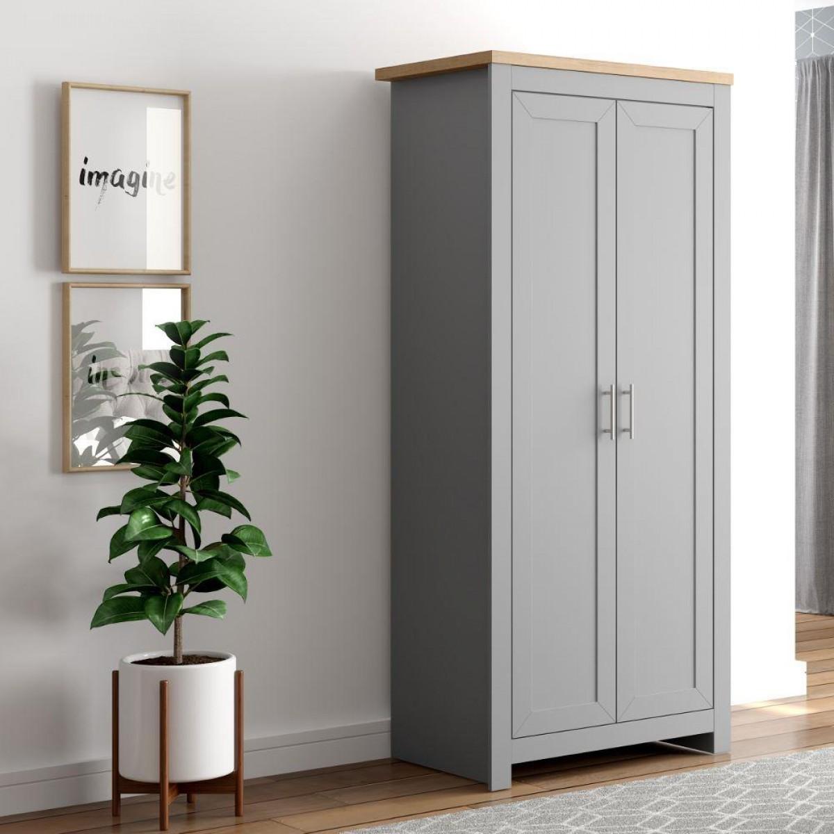 Winchester Grey and Oak 2 Door Wardrobe