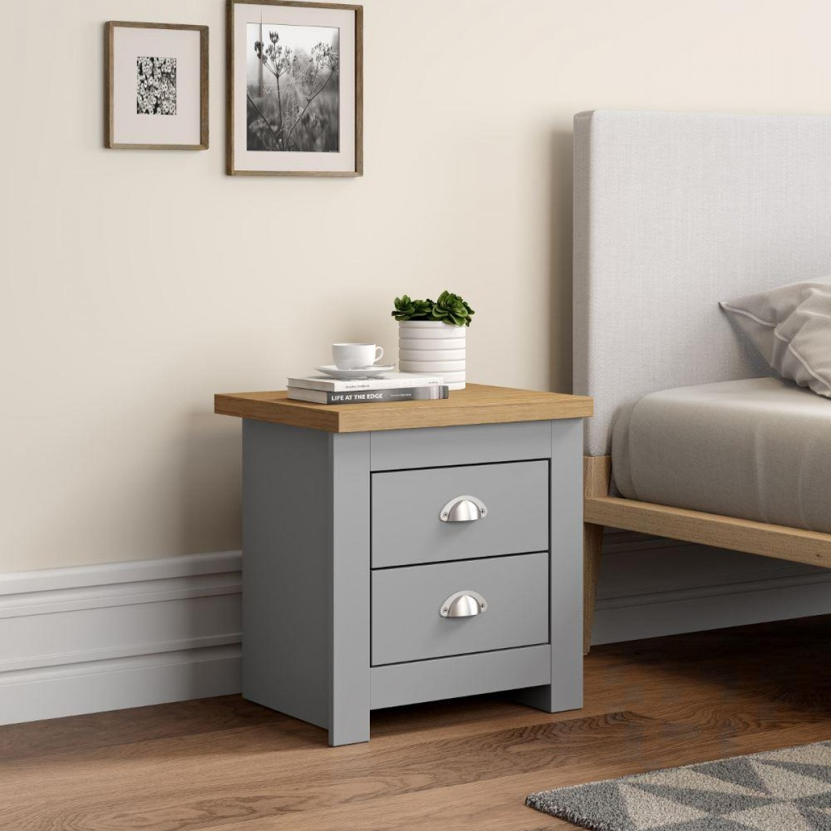 Winchester Grey And Oak Wooden 2 Drawer Bedside Table
