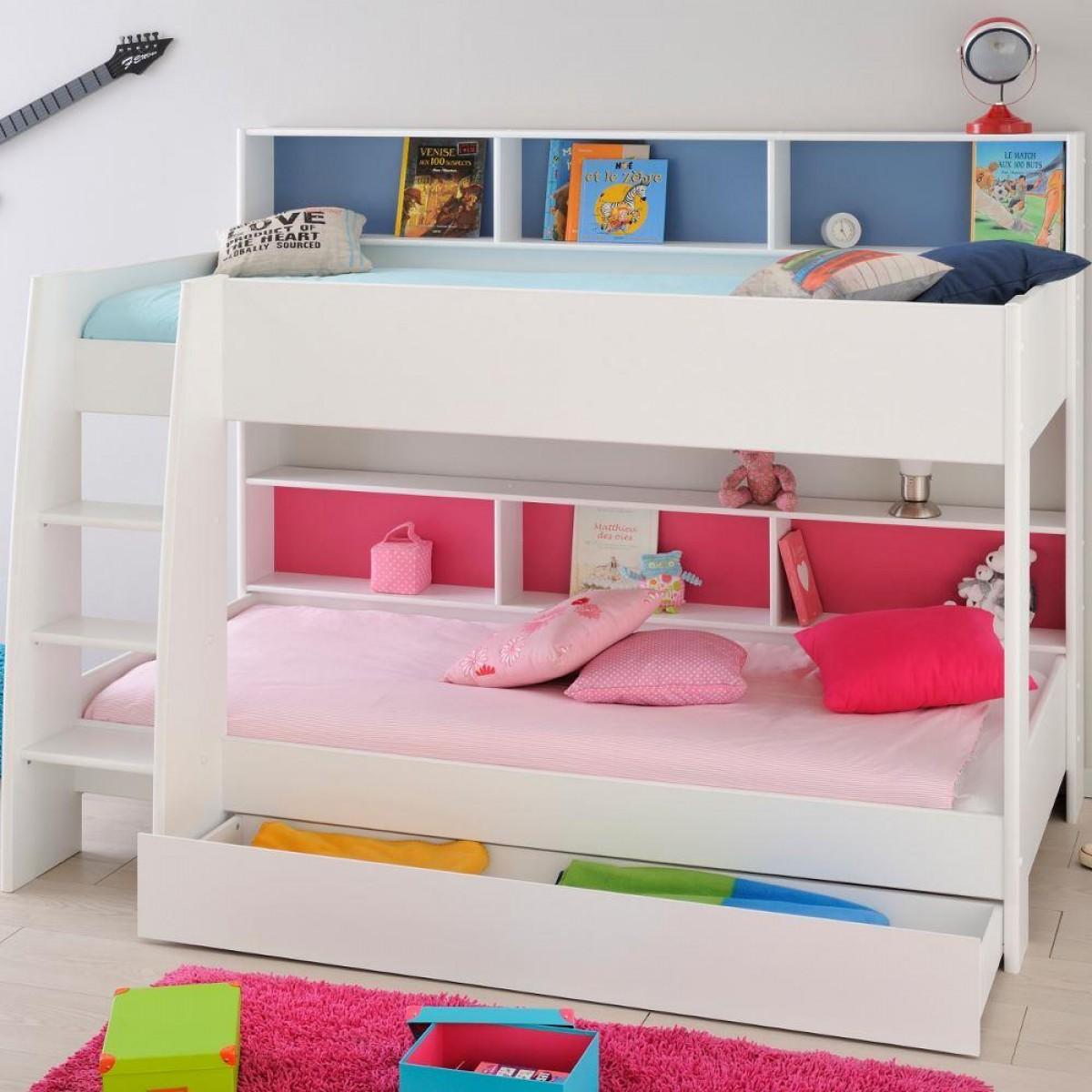 Tam Tam White Wooden Bunk Bed with Underbed Storage Drawer