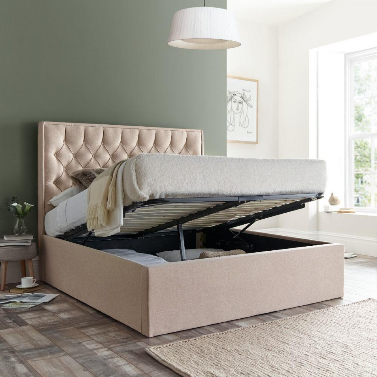 Wilson Oatmeal Fabric Ottoman Storage Bed