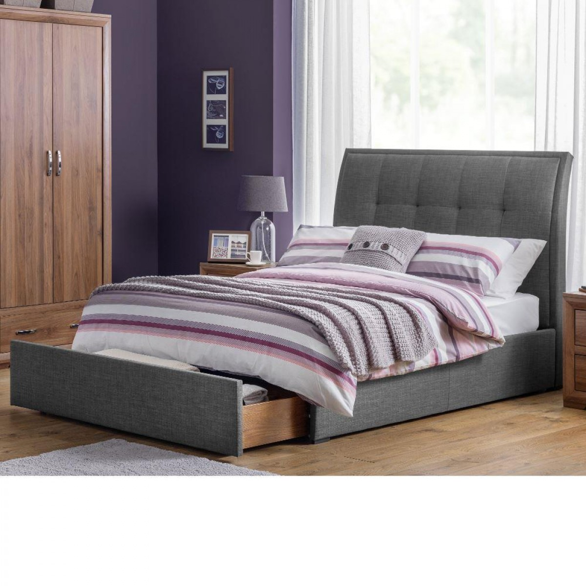 Santorini Grey Fabric End Drawer Storage Bed