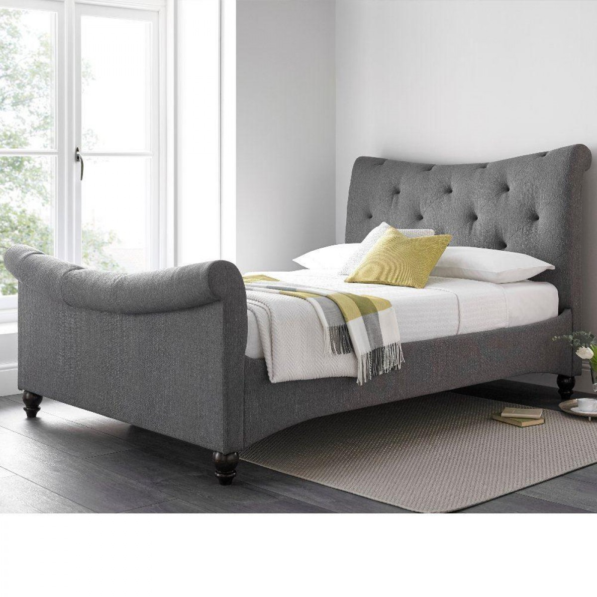 Tyne Grey Fabric Sleigh Bed