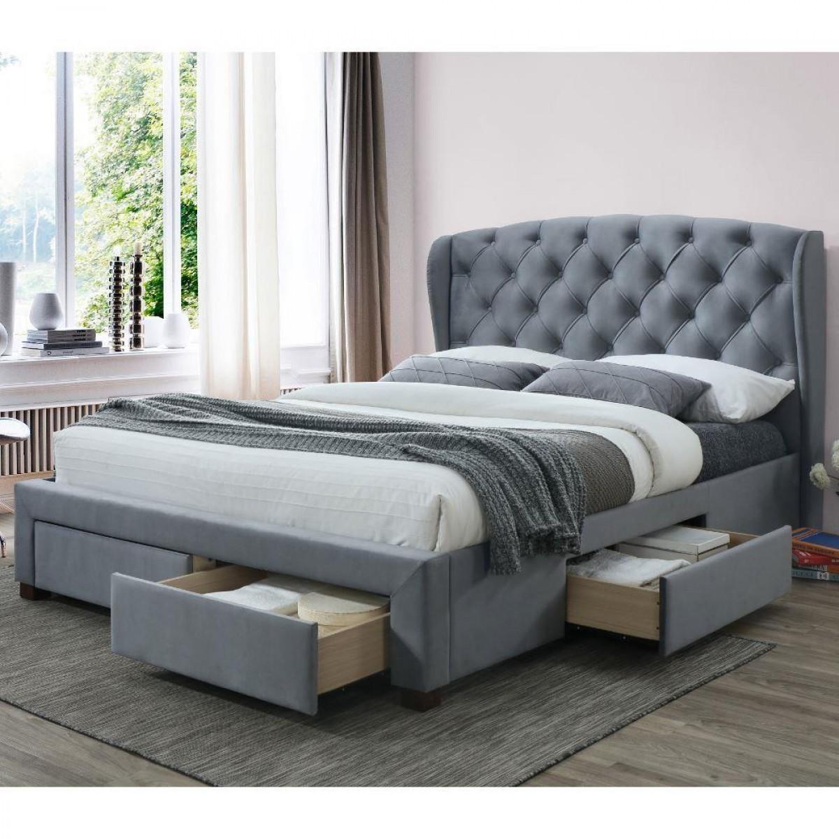 Hope Grey Velvet Fabric 4 Drawer Winged Storage Bed