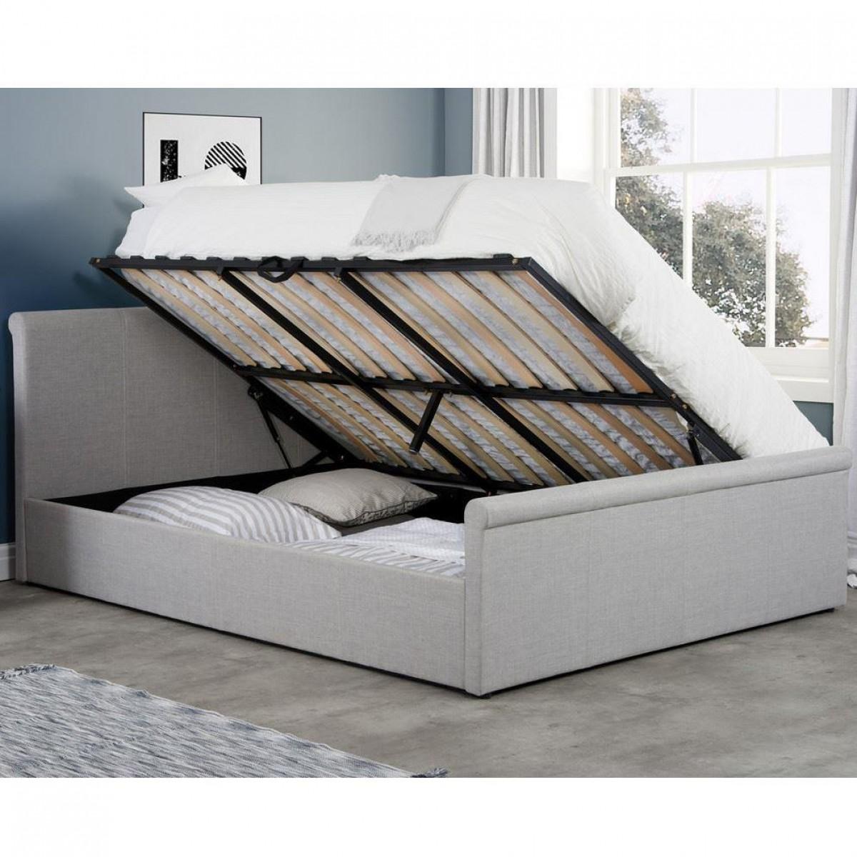 Stratus Grey Fabric Ottoman Storage Bed