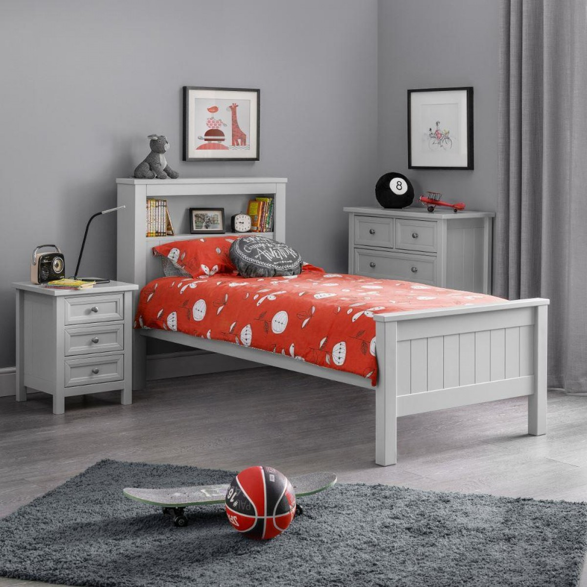 Maine Dove Grey Wooden Bookcase Bed
