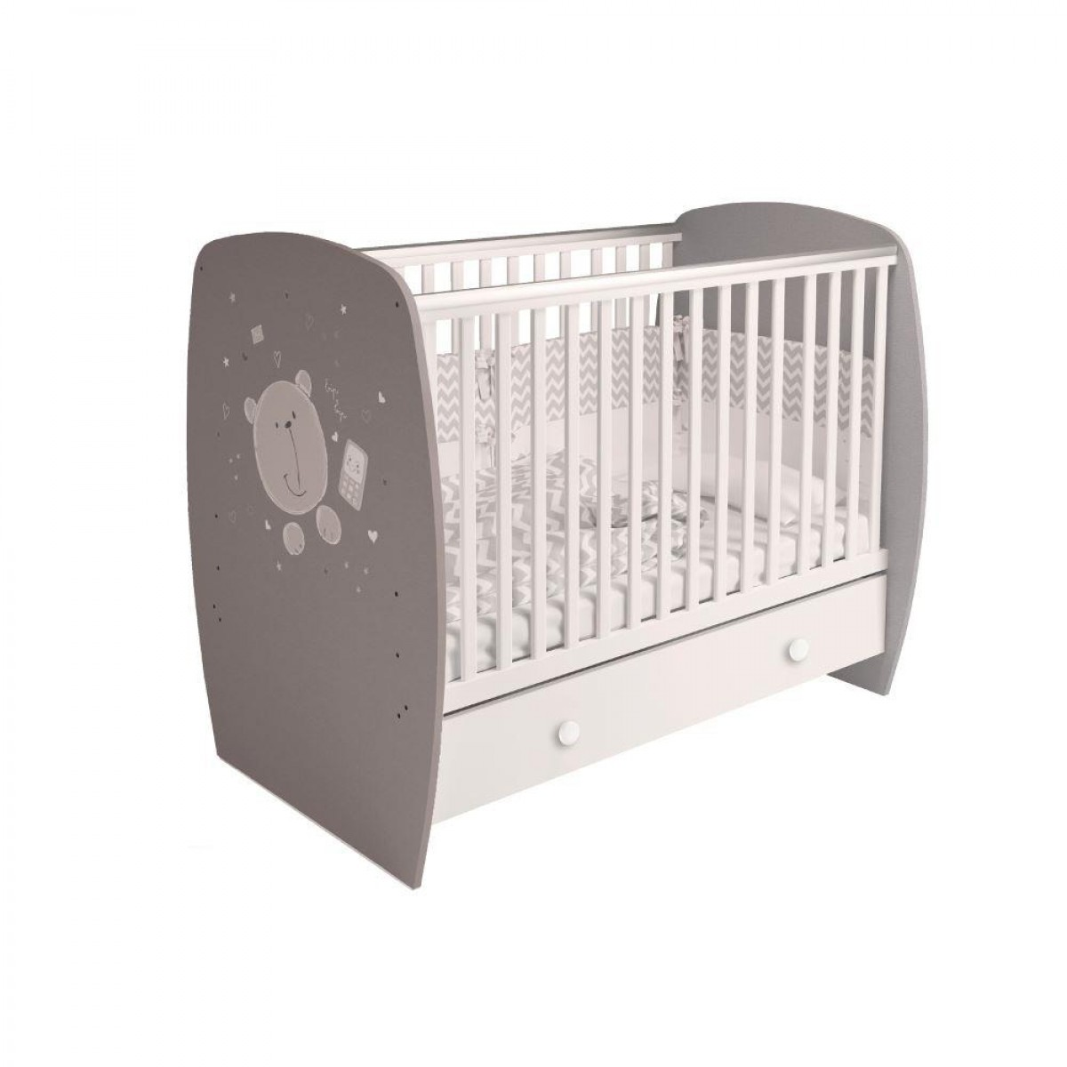 French Teddy Print White and Grey Wooden Baby Cot Bed