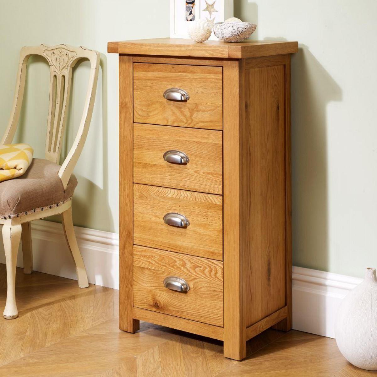 Woburn Oak Wooden 4 Drawer Narrow Chest
