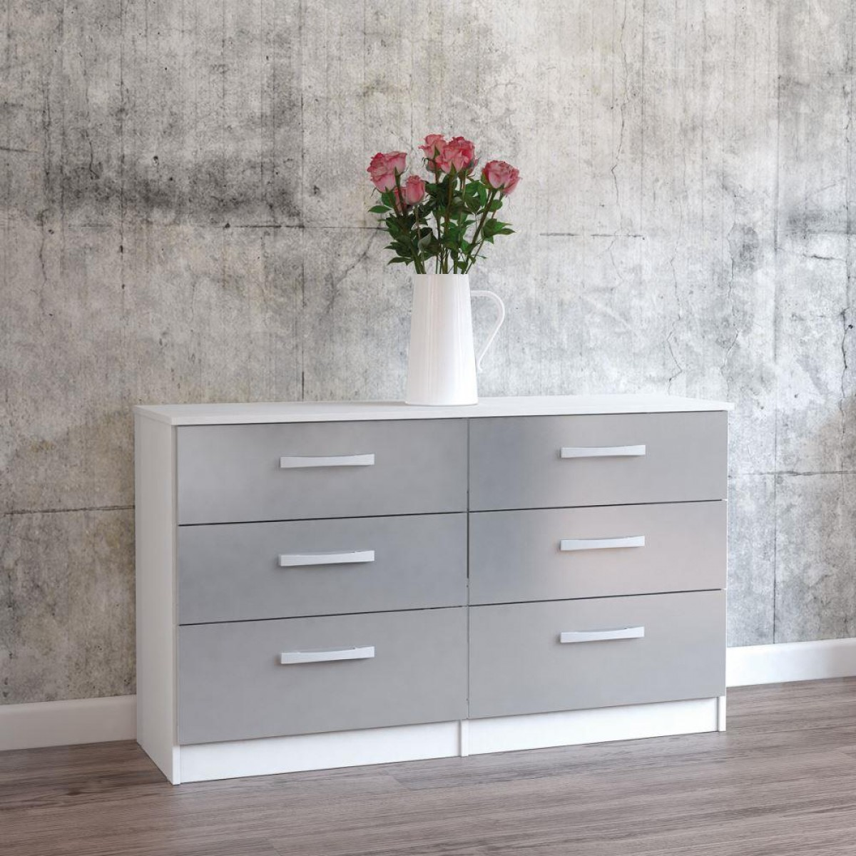 Lynx White and Grey 6 Drawer Wide Chest