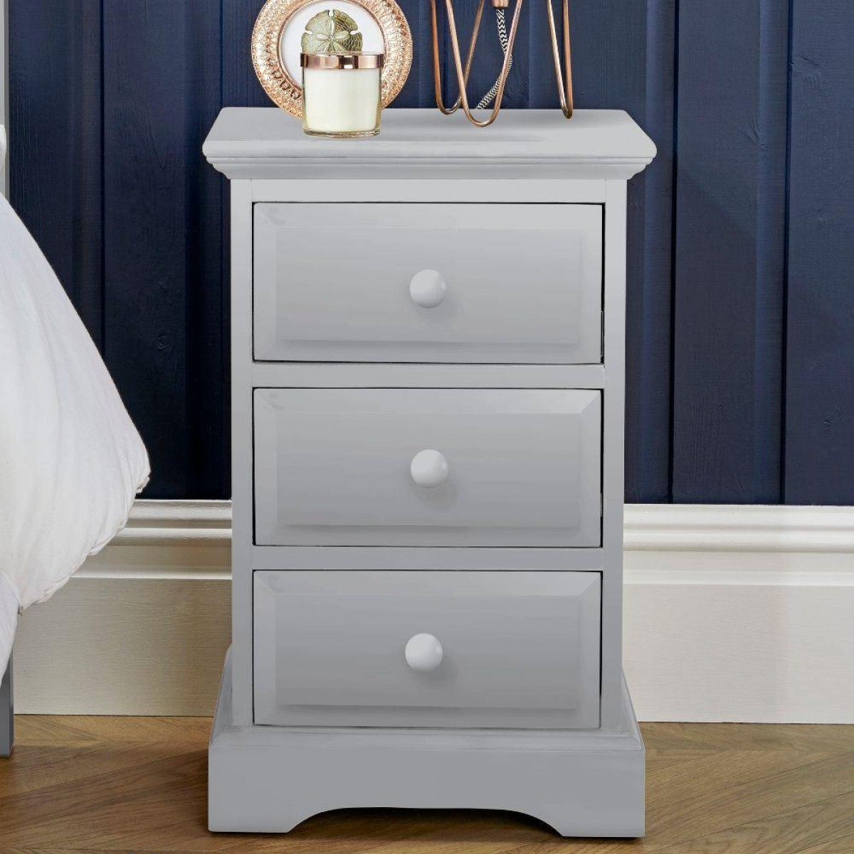 Suffolk Dove Grey Wooden 3 Drawer Bedside Table