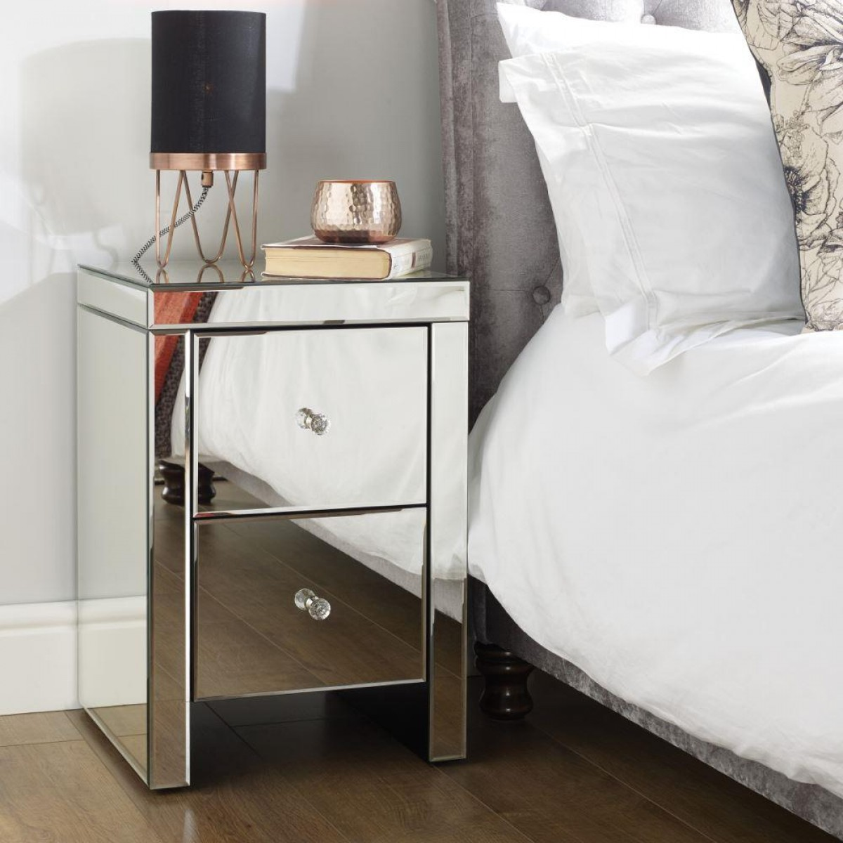 Seville Mirrored 2 Drawer Bedside Table