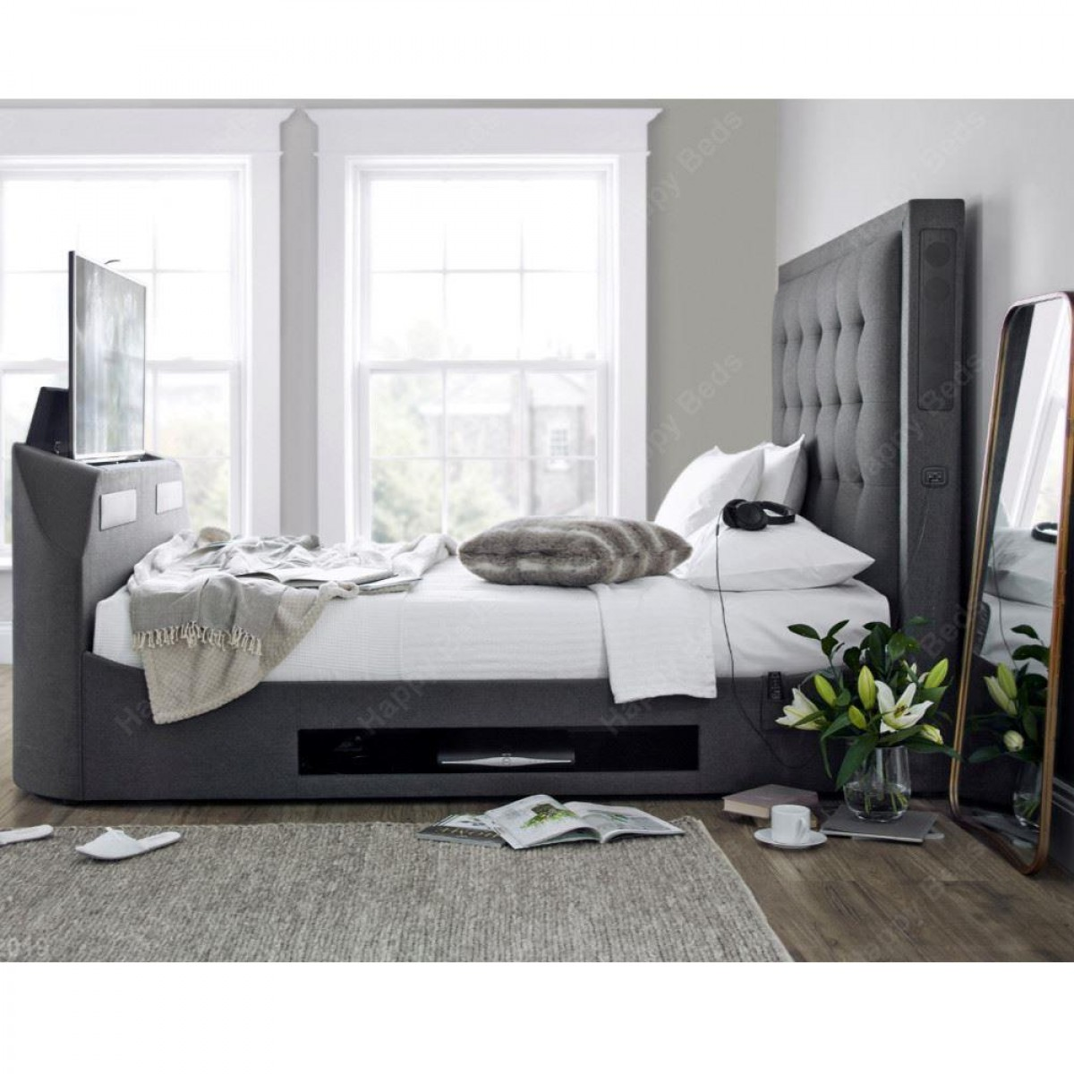 Titan Berwick Grey Fabric TV Media Bed