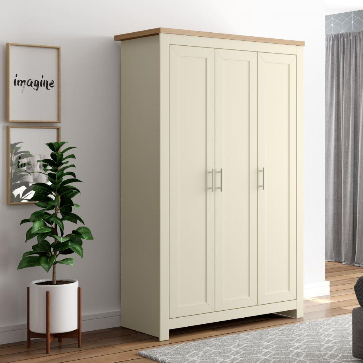 Winchester Cream and Oak 3 Door Wardrobe