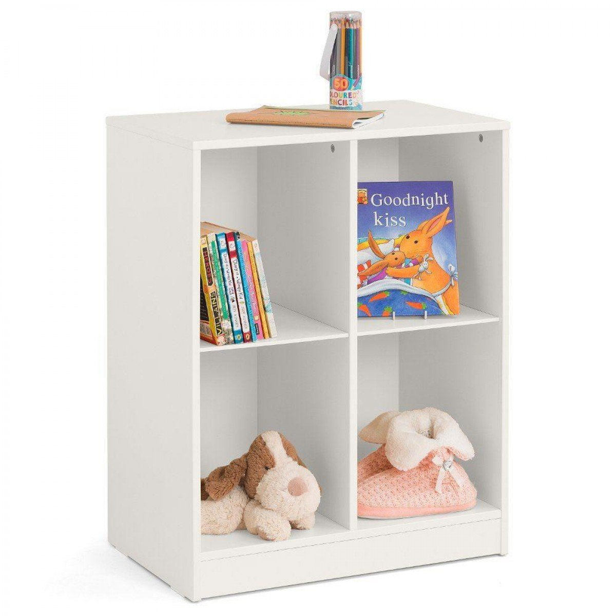 Pluto Stone White Wooden Bookcase