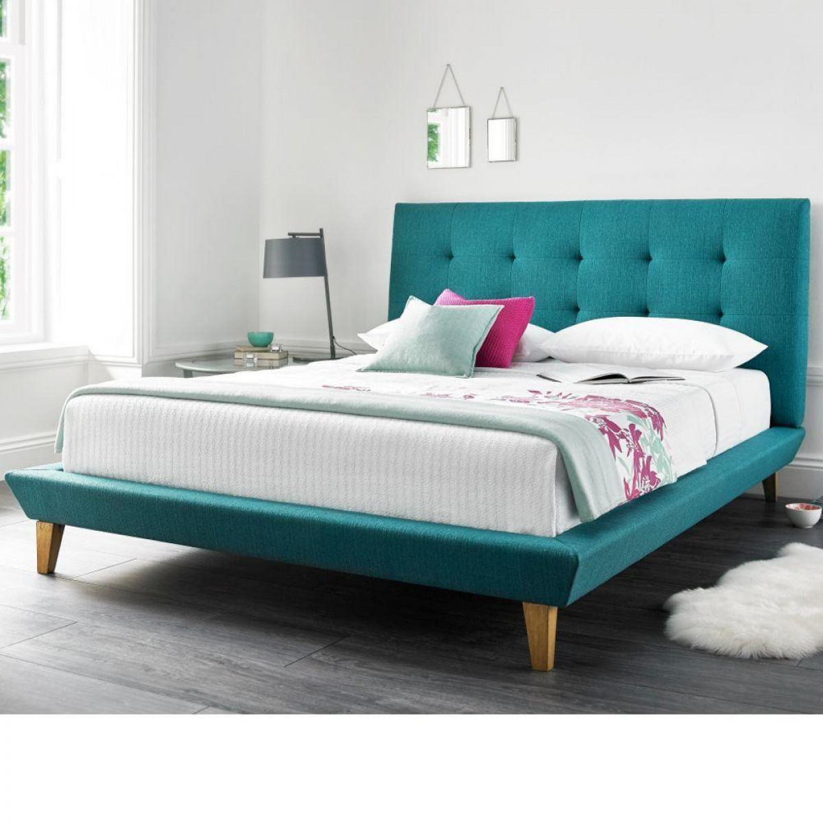 Marietta Teal Fabric Bed