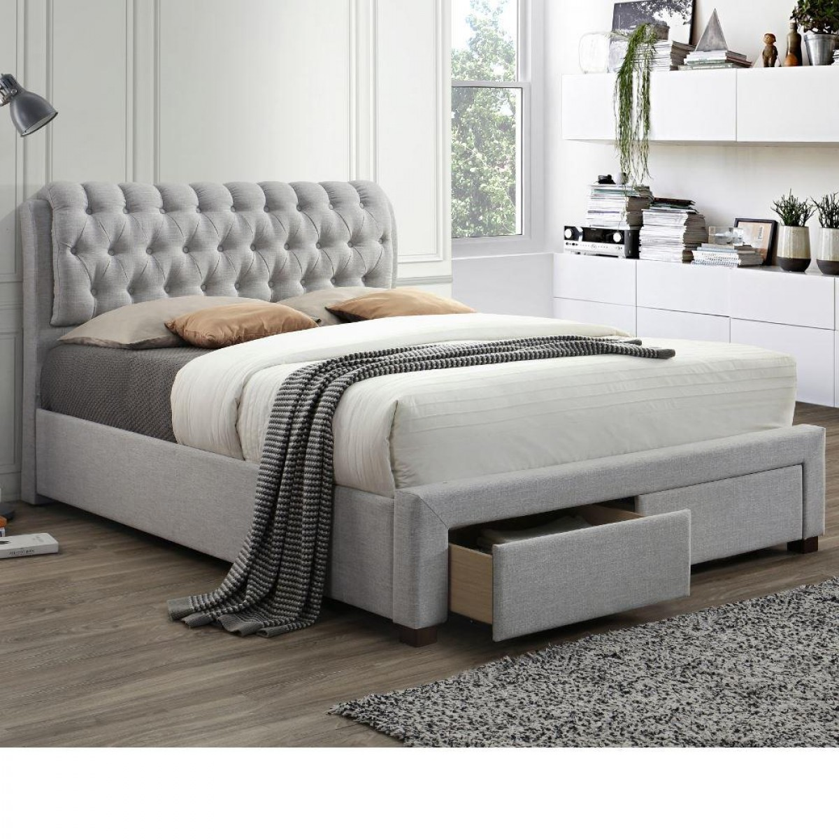 Valentino Light Dove Grey Fabric 2 Drawer Storage Bed