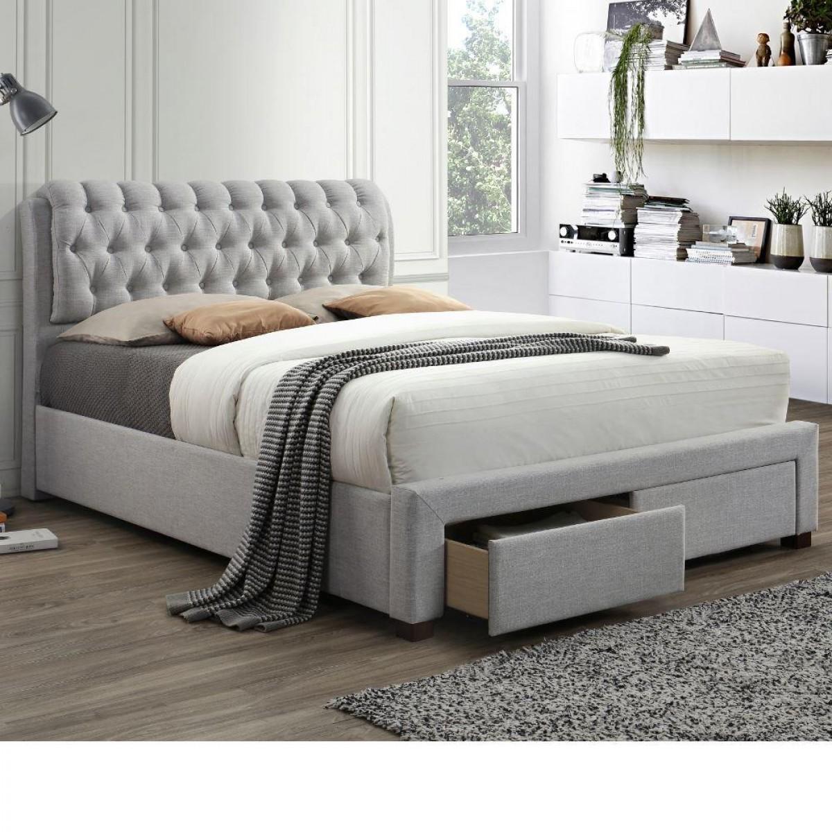 Valentino Light Dove Grey Fabric 2 Drawer Storage Bed