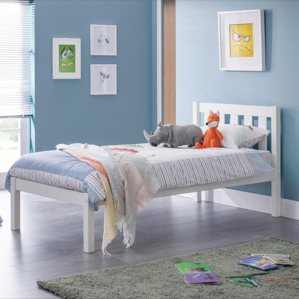 Luna White Wooden Bed