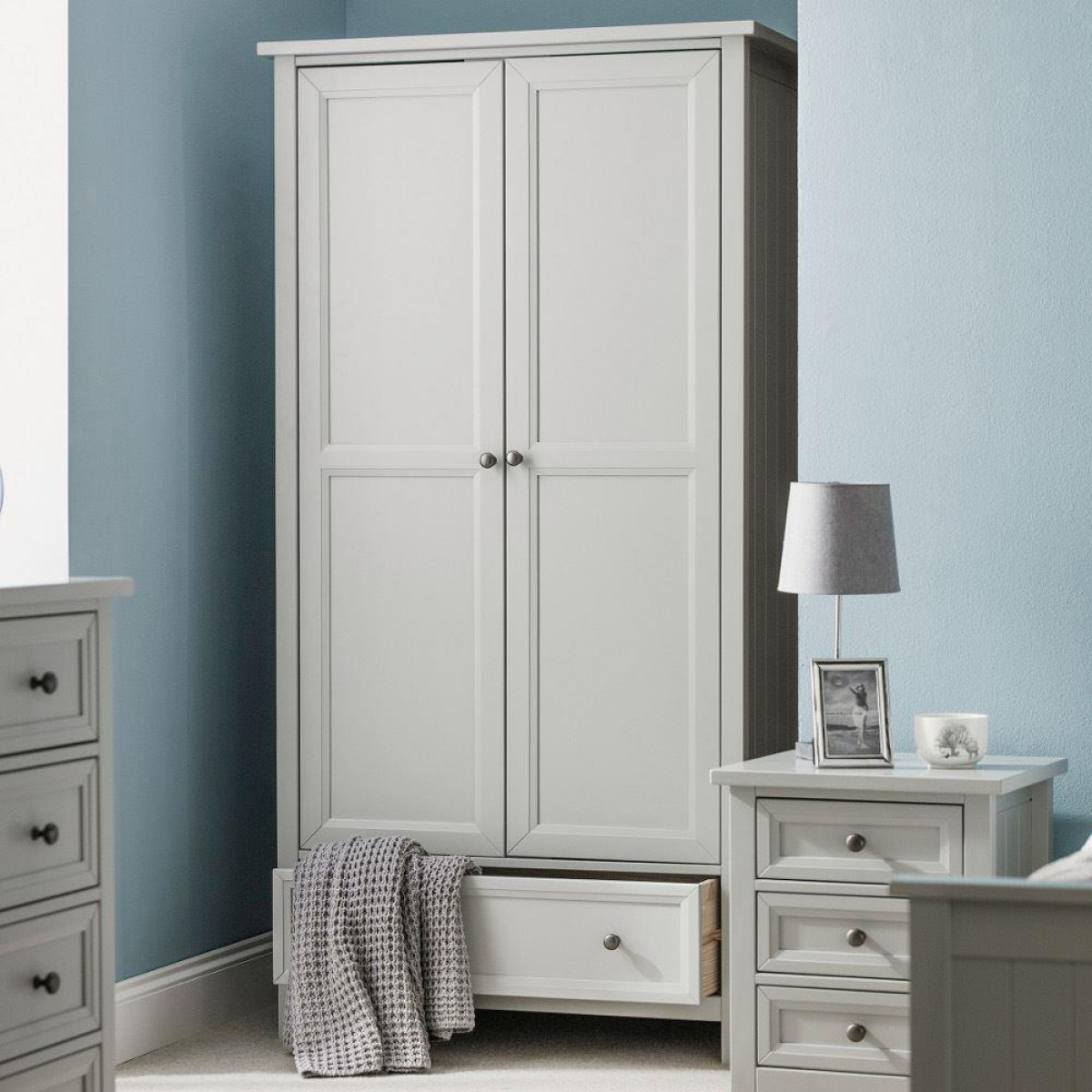 Maine Dove Grey 2 Door Wooden Combination Wardrobe