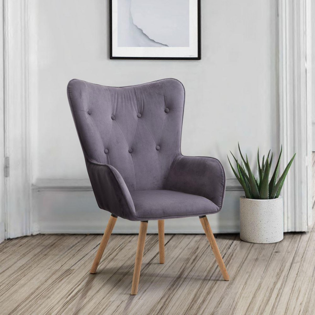 Willow Grey Velvet Fabric Chair