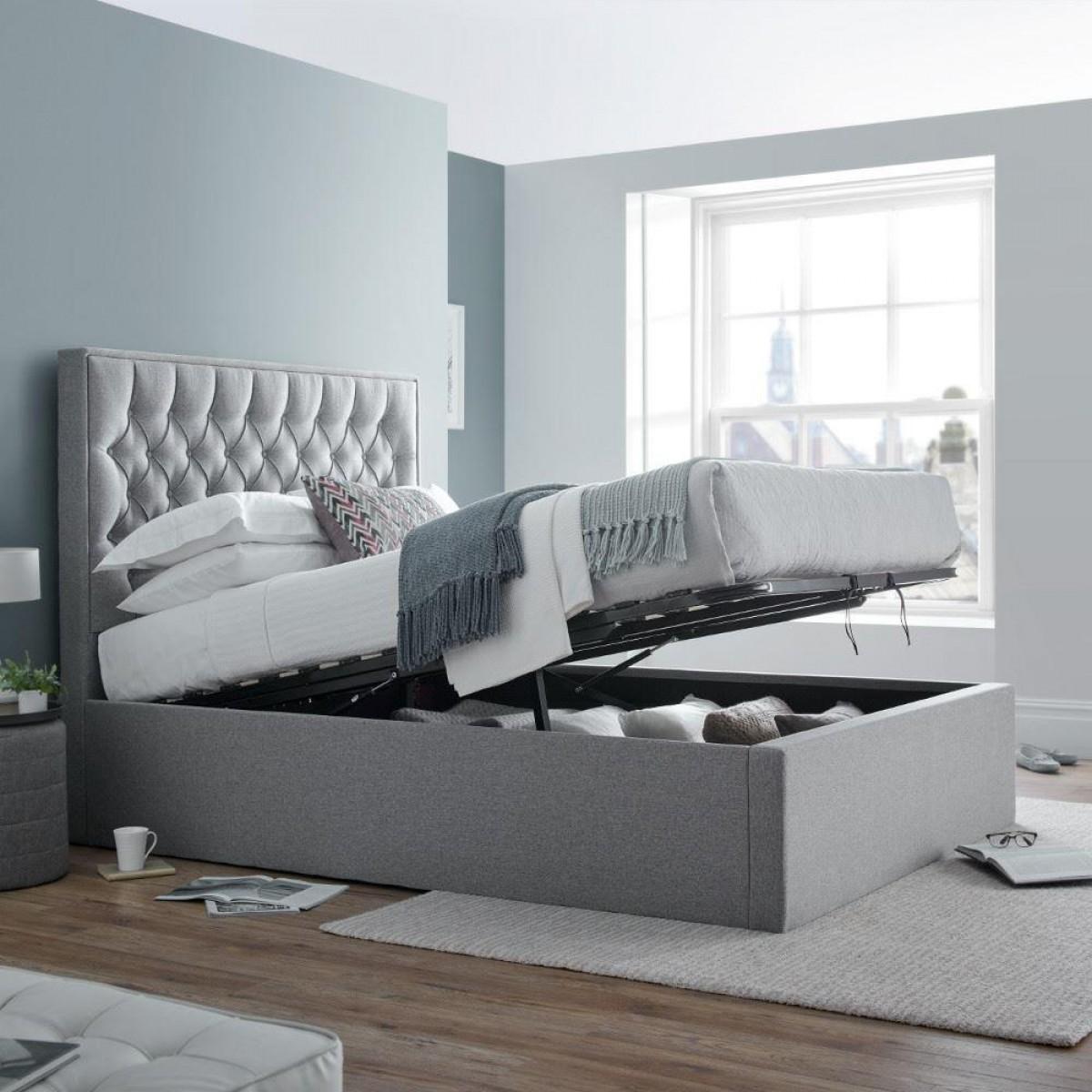 Wilson Grey Fabric Ottoman Storage Bed