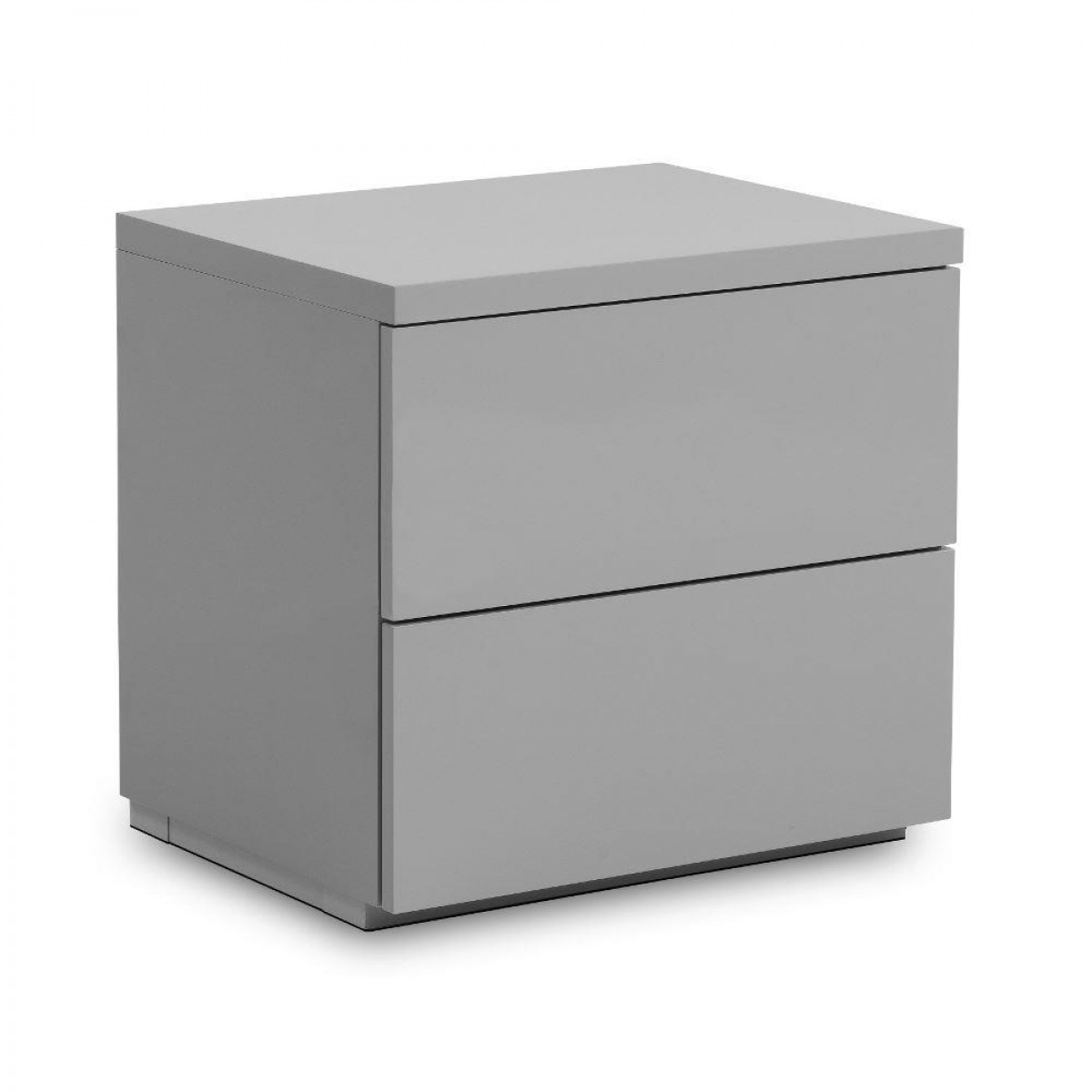 Monaco Grey Wooden High Gloss 2 Drawer Bedside Table