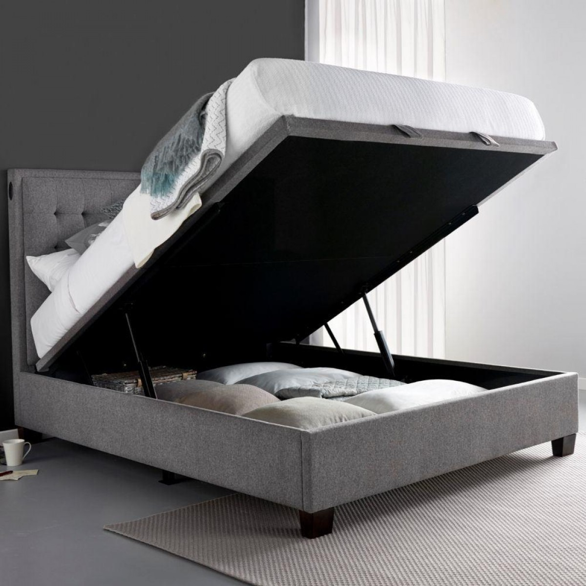 Cheviot Grey Fabric Automatic Ottoman Storage Bed