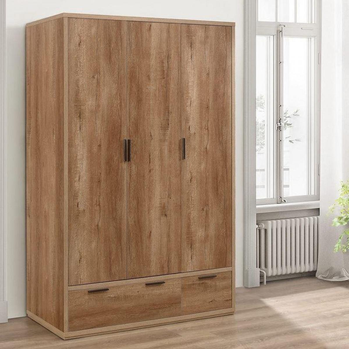 Stockwell Rustic Oak Wooden 3 Door Combination Wardrobe