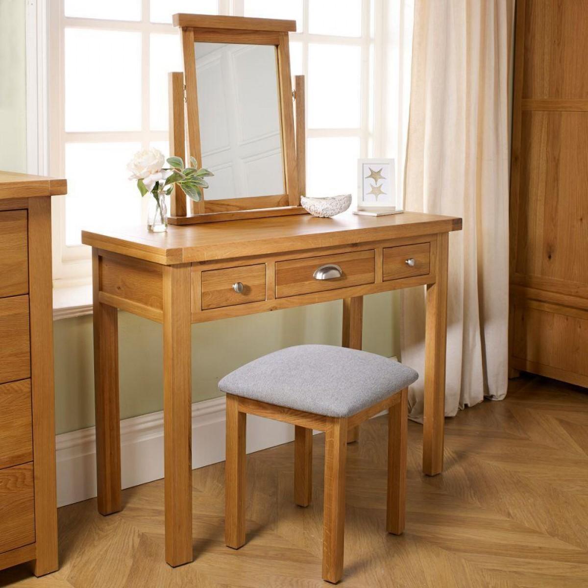 Woburn Oak Wooden 3 Drawer Dressing Table