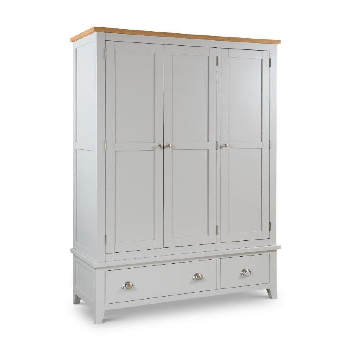 Richmond Grey and Oak 3 Door Wooden Combination Wardrobe