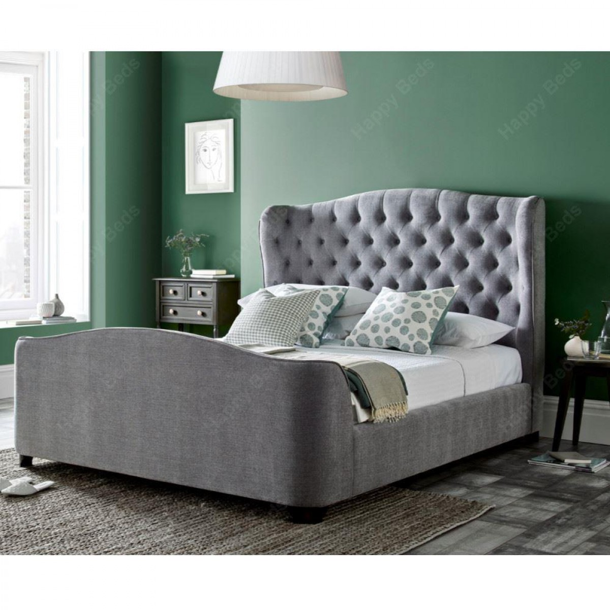Duchess Grey Fabric Bed