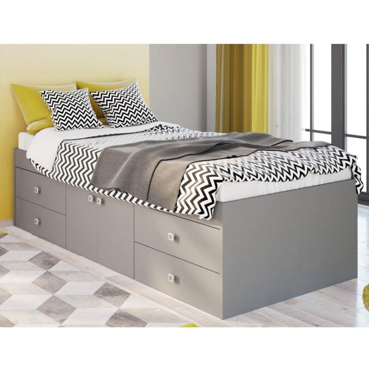 Arctic Grey Wooden Low Sleeper 4 Drawer Storage Bed