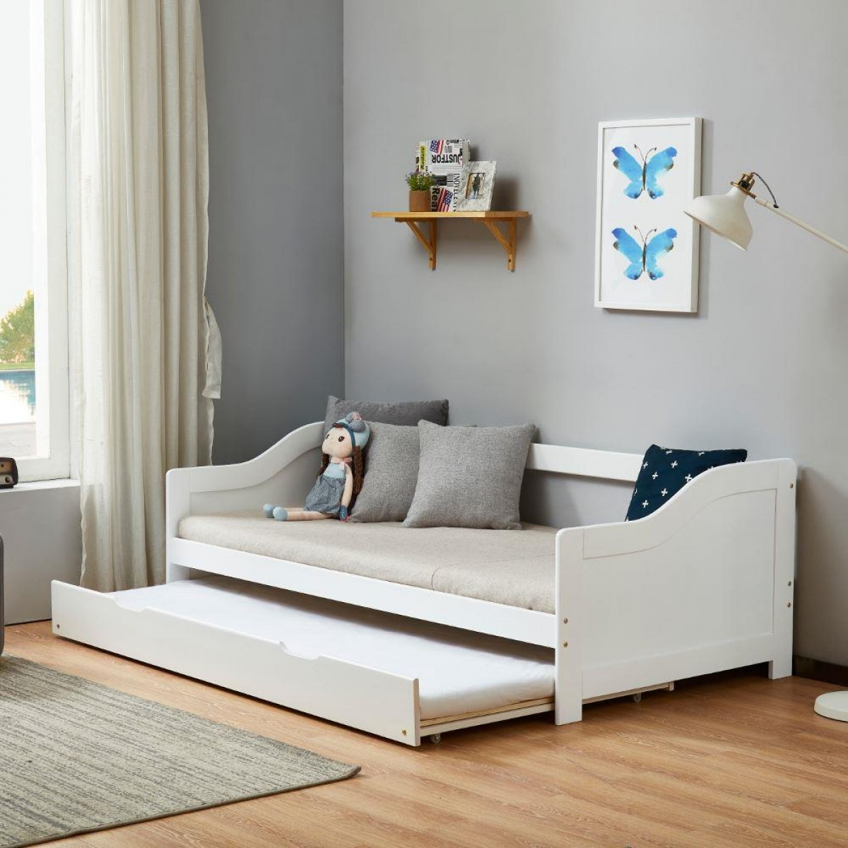 Brixton White Wooden Guest Bed