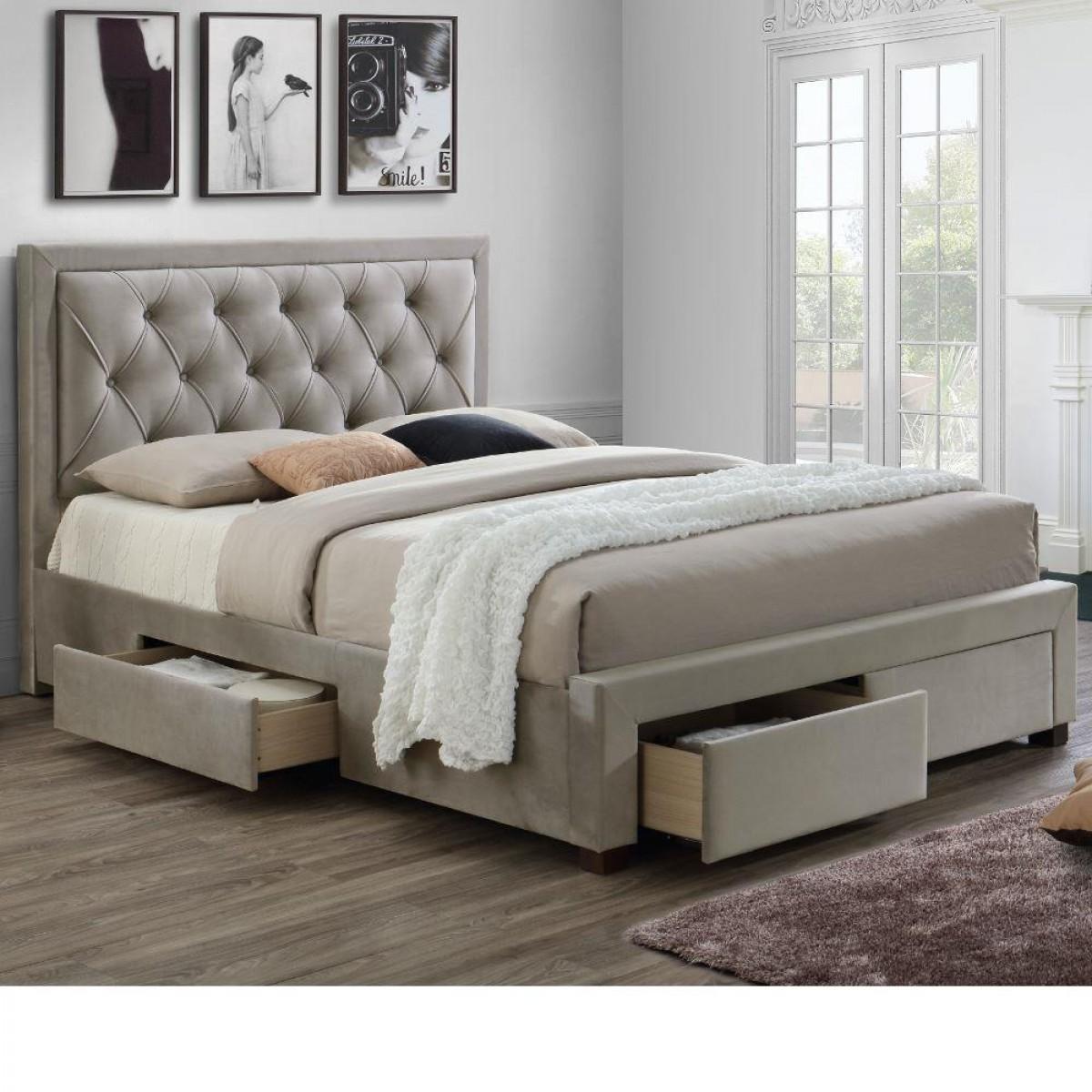 Woodbury Warm Stone Fabric 4 Drawer Storage Bed
